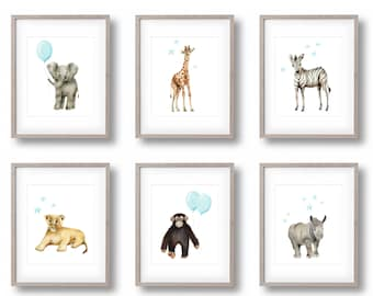 Safari Nursery Art Prints, Set of 6, Balloons, Baby Animal Prints, Elephant, Giraffe, Zebra, Lion, Rhino, Monkey, Gender Neutral Baby