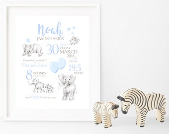 Birth Announcement, Nursery Art Print, Elephants, Baby Gift, Blue Nursery, Safari Birth Art, Baby Boy Gift, Drawing, Sketch, Balloon, Stars