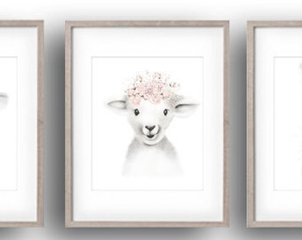 Farm Nursery Prints, Baby Animal Art, Bunny, Lamb, Cow, Calf, Farmyard Prints, Baby Girl, Baby Wall Decor, Flowers, Drawings, FLUFFY FACES