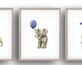Safari Nursery Art, Navy Blue, Set of 3, Elephant, Giraffe, Lion, Baby Animal Prints, Jungle Animal, Balloon, Stars, Gender Neutral Baby
