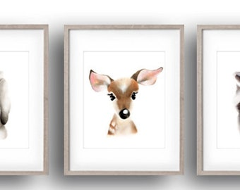 Woodland Nursery Prints, Animal Face Art, Bunny, Deer, Raccoon, Fluffy Faces, Forest Animal Prints, Gender Neutral Baby, Nursery Wall Decor
