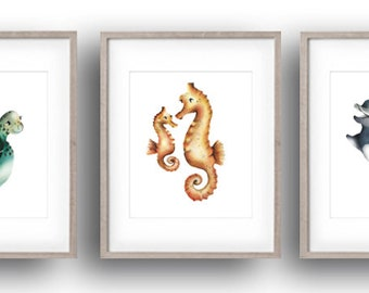 Sea Nursery Art Prints, Set of 3, Ocean, Nautical Art, Dolphin, Octopus, Turtle, Sea Otter, Whale, Seahorse, Baby Sea Animal, Fish Prints