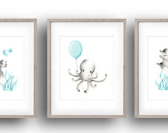 Sea Nursery Art Prints, Set of 3, Ocean, Nautical Art, Dolphin, Octopus, Turtle, Baby Sea Animal, Kids Wall Decor, Fish, Underwater, Aqua