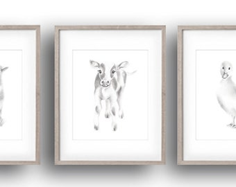 Farm Animal Prints, Pencil Drawing Prints, Set of 3, Gender Neutral Baby, Cow, Duck, Lamb, Sketches, Baby Animal Print, Farmyard Artwork