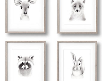 Woodland Nursery Prints, Animal Faces, Bunny, Fox, Raccoon Deer, Fluffy Face, Baby Animal Art, Gender Neutral Baby, Sketch Art Prints
