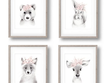 Woodland Nursery Prints, Animal Faces, Bunny, Fox, Bear, Deer, Fluffy Face, Baby Animal Art, Baby Girl Nursery, Grey and Pink, Flowers