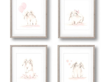 Bunny Nursery Art Prints, Set of 4, Rabbit Drawings, Sketch, White Bunnies, Sweet Blush, Baby Girl, Flowers, Butterflies, Woodland, Forest