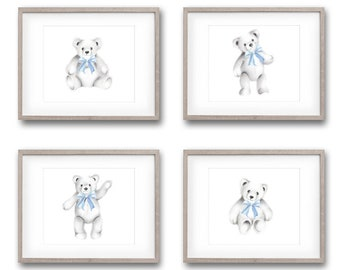 Teddy Bear Prints, Set of 4, Nursery Art, Bear Drawings, Bears with Bows, Toy Artwork, Gender Neutral Baby, Bear Cub, Teddy Art Prints