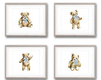 Teddy Bear Prints, Set of 4, Nursery Art, Bear Drawings, Bears with Bows, Toy Artwork, Gender Neutral Baby, Bear Cub, Teddy Paintings