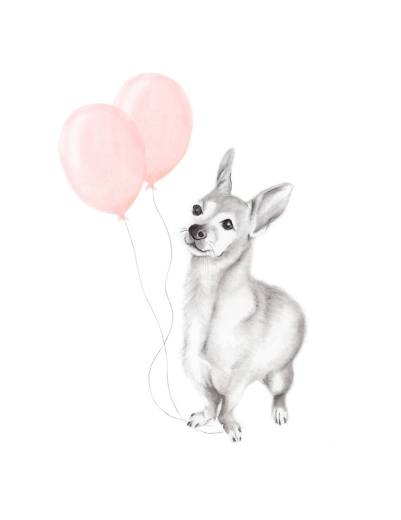 Dog Drawing Chihauhua Mix Sketch Pencil Animal Print Puppy Dog Nursery Art Pet Portrait Blush Balloons Baby Wall Decor Art Print