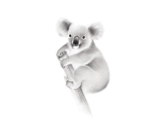 Koala Beer Australische Dieren Print Baby Koala Potlood Etsy