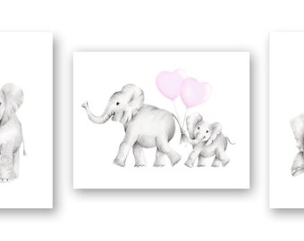 CANVAS Nursery Art, Elephant Drawing, Set of 3, Mother and Baby, Heart Balloons, Safari Animal Prints, Nursery Wall Decor, Gender Neutral
