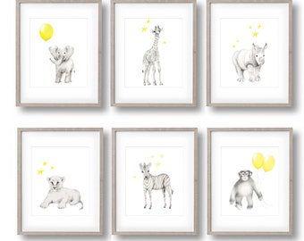 Safari Nursery Art, Set of 6 Prints, Elephant, Giraffe, Lion, Zebra, Monkey, Rhino, Yellow  Grey Nursery, Gender Neutral Baby, Art Prints