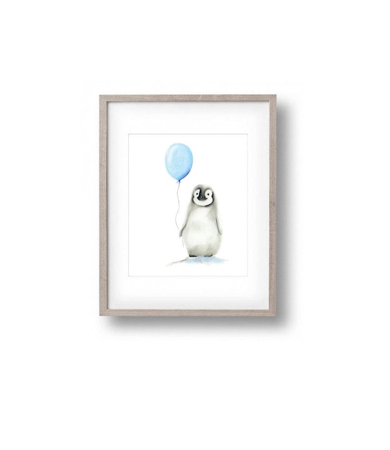 Penguin Nursery Art Arctic Animal Print Baby Boy Nursery image 0