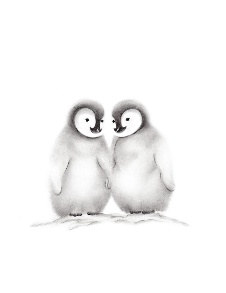 Baby Wall Art Kids Prints Gender Neutral Baby Decor Penguin Family ...