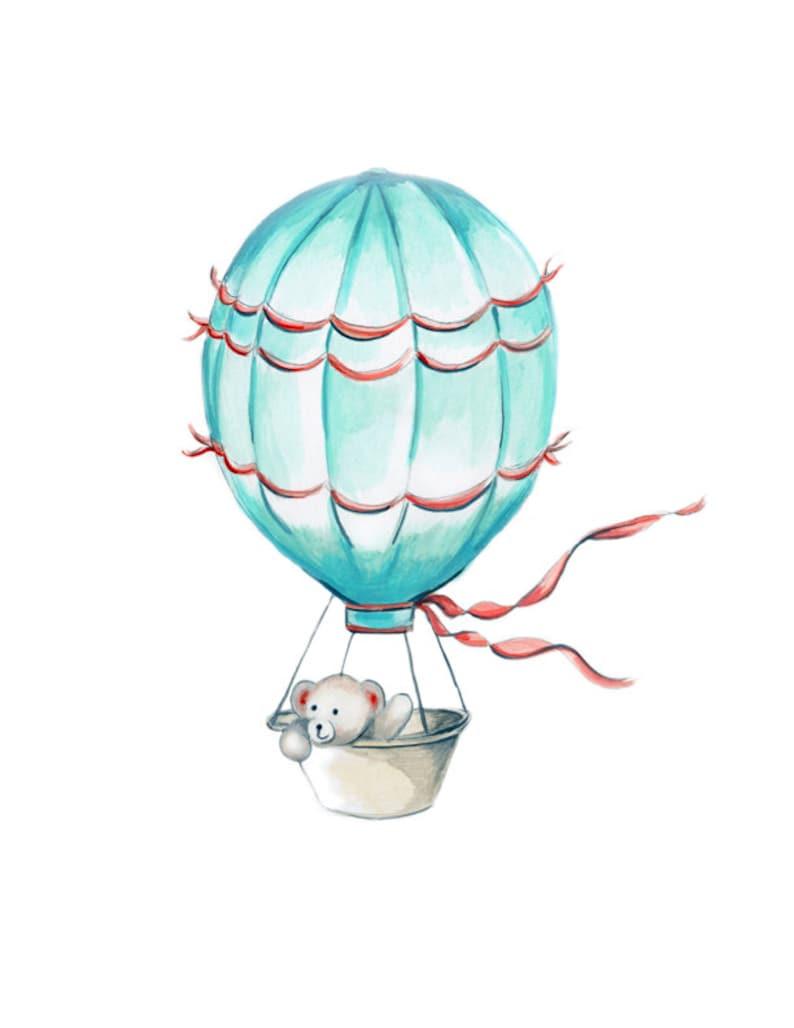 Giclee Prints Nursery Artwork Bear Coral and Aqua Hot Air Balloons Whimsical Nursery Childrens Wall Decor CANVAS Nursery Set Kitten