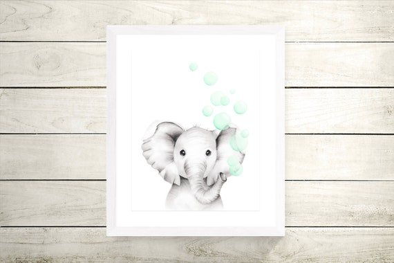 Gender Neutral Baby Mother and Baby Safari Jungle Animal Art Elephant Nursery Prints Wall Decor Pencil Drawings Balloons Bubbles