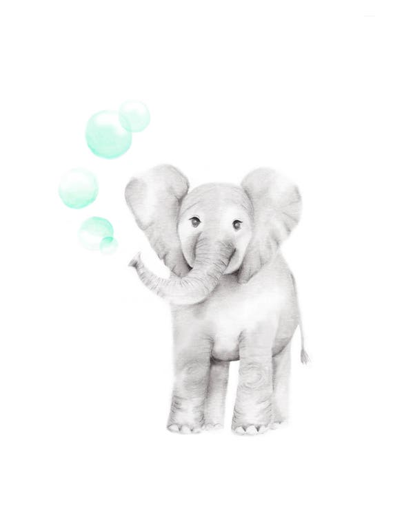 Elephant Nursery Prints Safari Wall Decor You Are So Loved Pencil Drawings Gender Neutral Baby Jungle Mint Balloons Mother and Baby