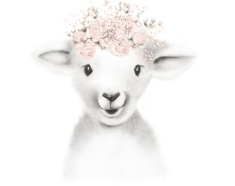Lamb Nursery Art Print, Baby Animal Face, Lamb Flowers, Farm Print, Lamb Sketch Portrait, Pink Floral Art, Farmyard Artwork, Baby Lamb