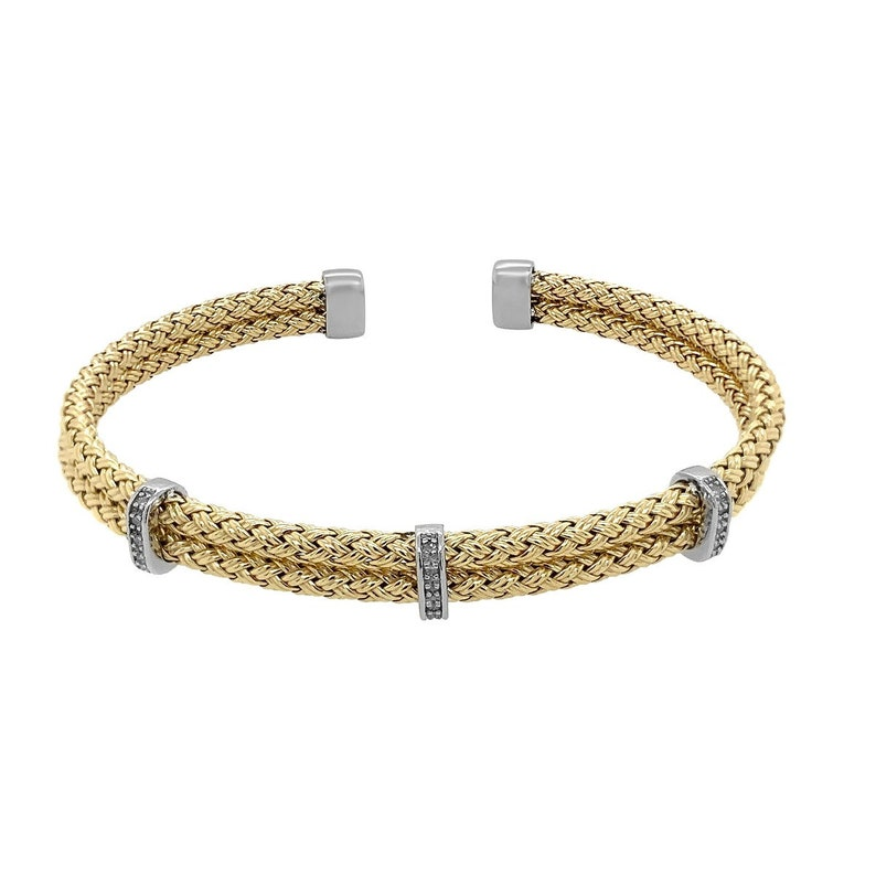 Sterling Silver with 18K Yellow Gold Plating Vermeil Cuff Bracelet