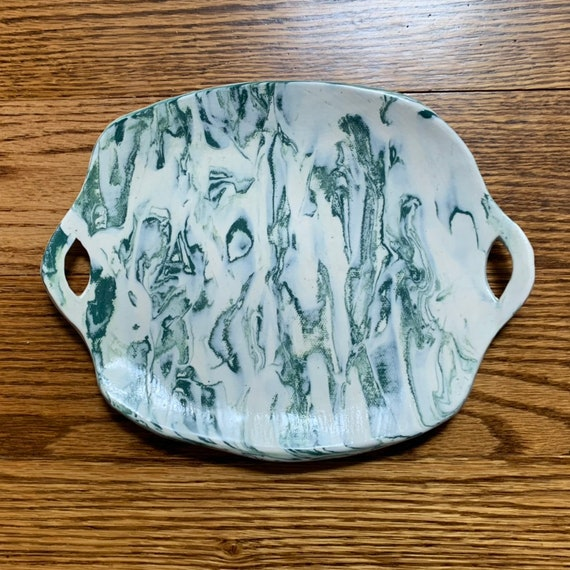 Hand-Painted Platter Serving Tray One of A Kind Handmade Ceramic Platter of a Painting Original Art