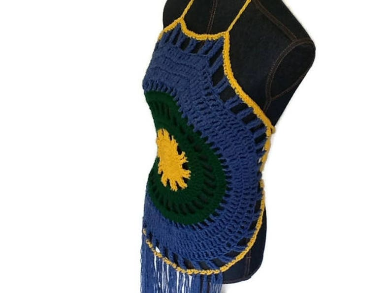 Boho Halter Women/'s Gift Handmade Crochet Halter Top Fringed Top Festival Wear Boho Halter Top Boho Crochet Top Festival Halter Top
