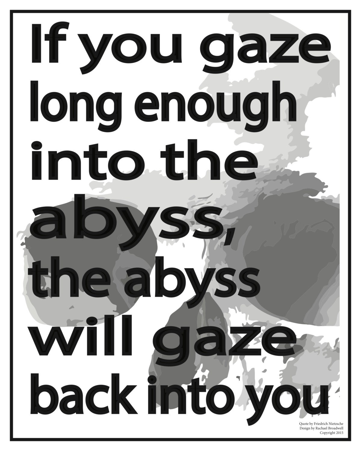 Friedrich Nietzsche Poster Quote Abyss Printable Poster Etsy