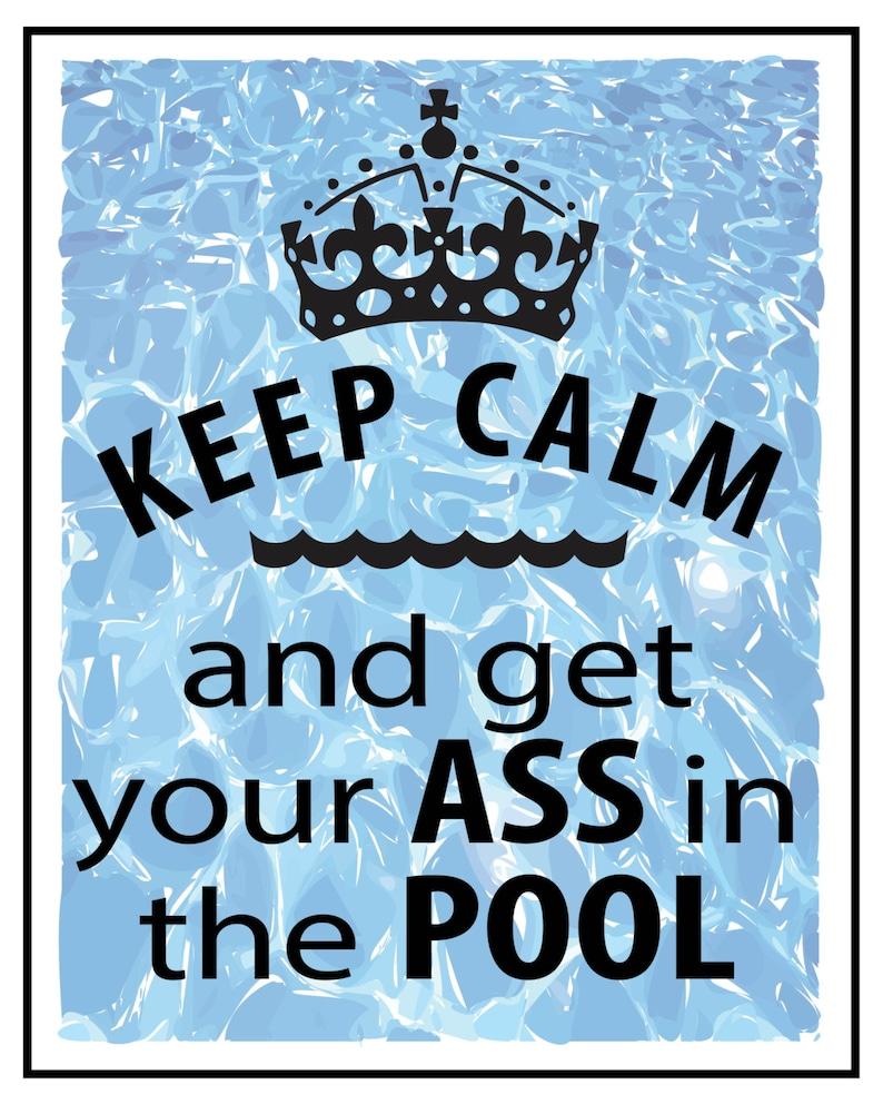Set of 2 Printable Posters - Swim - Swimming - Pool - Motivational - Keep  Calm - Funny