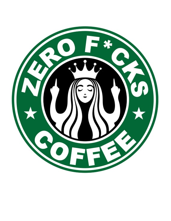 graphic about Printable Starbucks Logos titled Starbucks Symbol Parody - Zero Fucks - Heart Finger - Flipping Off - Amusing - Humor - Restaurant - Espresso - Electronic Down load - Printable Wall Artwork