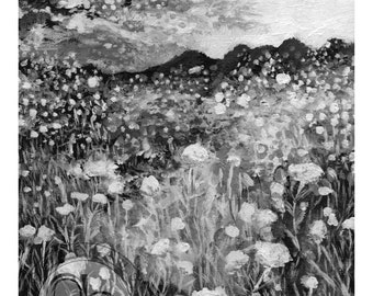 Landscape Painting - Monochromatic - Black and White - Printable Art - 8.5x11in