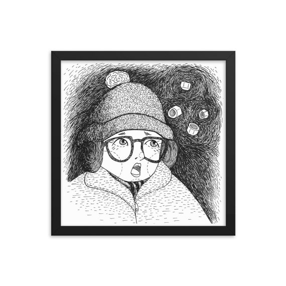 A Christmas Story Fan Art Illustration Folk Illustration Series Holiday Art Ralphie Leg Lamp Framed Wall Art Print Poster