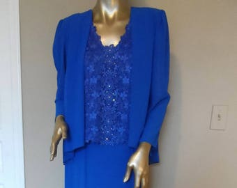 f35a657ba87 Vintage 1980 s Blue URSULA of SWITZERLAND Evening Dress  Size 10 Lace    Rhinestones Mother of Bride Party Special Occasion Elegant Classy
