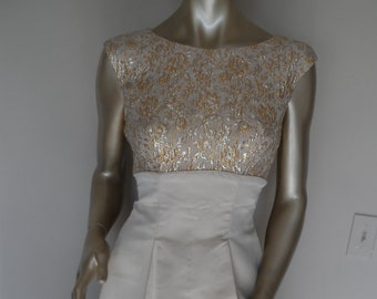 Vintage 1960's JANE ANDRE Party Dress* Size Small . Gold Brocade & Silk . Fifties and Sixties Designer Dress . Elegant . Wedding . Evening .
