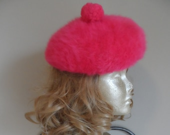 dc73b07a5b4 Vintage Pink Angora Beret  Beret With Pom Pom . Made in England . Valentine  Cap . Winter Angora Cap . Pretty In Pink!