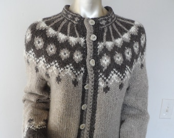 53331b9691 Vintage Fair Isle Sweater Hand Knitted Wool Cardigan  Size Large . Brown  Tones Winter Deer Horn Buttons Warm One of a Kind Cardigan Sweater