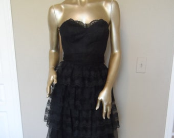 e417d49783f Vintage 1980 s Black Strapless Party Dress  Bridesmaid Prom Size 5 . TD4 by  Eletra .