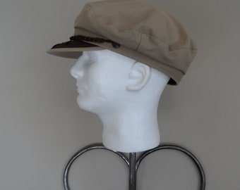 304ddc19e03 Vintage Tan GREEK FISHERMAN S CAP  Made in Greece Size 62 - 7 3 4 . Pefect  Summer Hat Unisex Cap Accessory