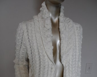 086492eb2e Vintage Cream Knit Cardigan  Size Small . Popcorn Cable Pattern Knit Long  Sleeved Cardigan Sweater Cotton Blend Knit BEAUTIFUL!