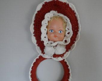 Vintage 1950's Crocheted Doll Face Towel Rack* Rust & Cream . Retro Kitchen .