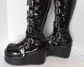 77d1517b57b8 Vintage DEMONIA Black Knee High Platform Boots  Unisex . Mens Size 7 .  Women s Size 8 1 2 . Steampunk Gothic Rock Star Buckle Front Back Zip