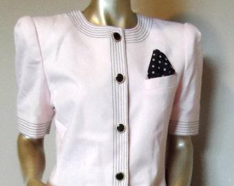 112f416f903953 Vintage Pink   Black Linen-Look Suit   KASPER For A.S.L. Size 12 . Made in  Hong Kong . Excellent Vintage Condition!