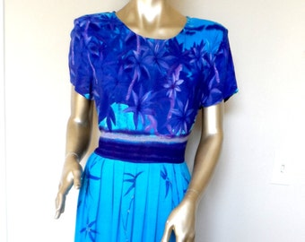 Vintage 1980's Tropical Maxi Dress* Purple & Ocean Blues . Size 12 . JUST IN THYME . Rayon . Hawaii . Comfy.Anytime Dress . Casual Or Dressy