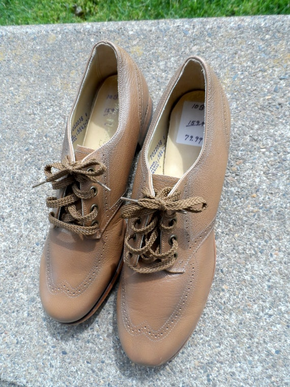Tawny Vintage Condition Lace Unisex New Size Design Up FREEDOM Like Oxfords Brown Leather Vintage 1960's B Wingtip Ties BAREFOOT 10 wBURxpq
