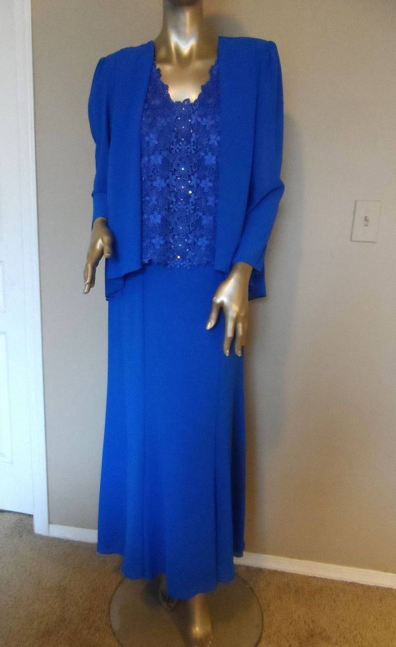 5308fa6a657 Vintage 1980 s Blue URSULA of SWITZERLAND Evening Dress
