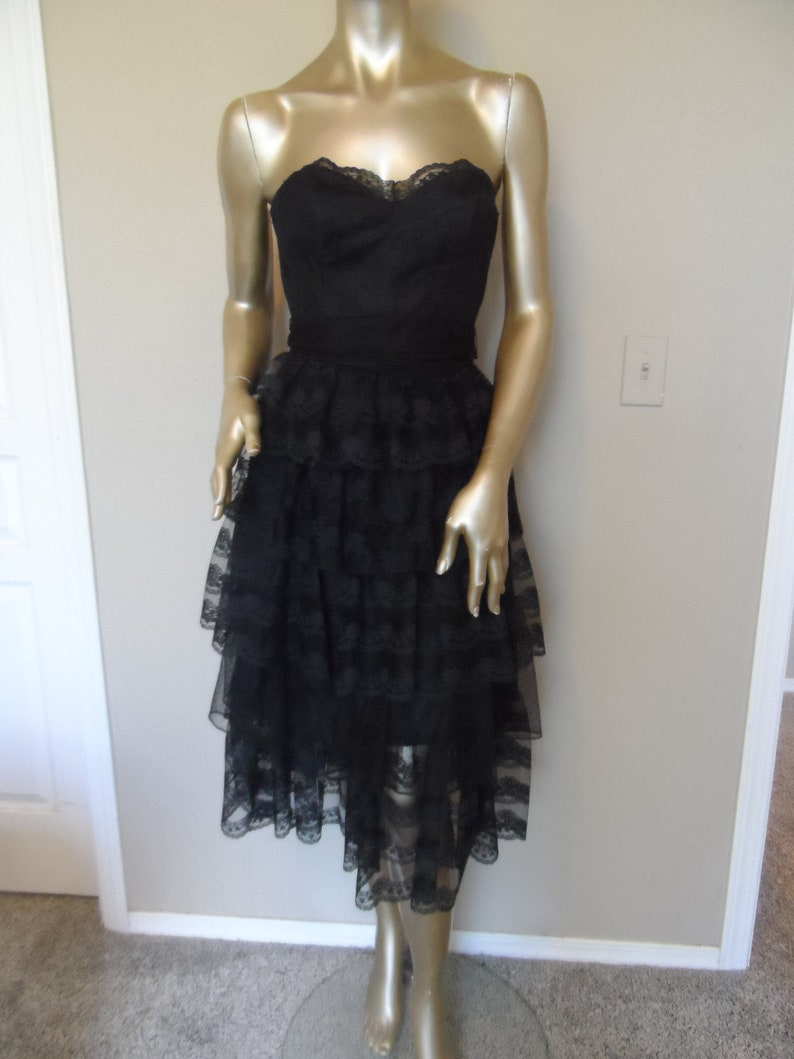 0437fa23ed6 Vintage 1980 s Black Strapless Party Dress Bridesmaid