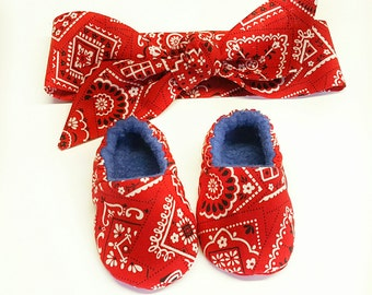 eed69baf884 Red Paisley Baby Shoes