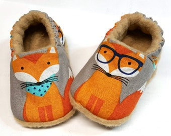 Fox Baby Slippers, Fox baby Shoes, Fox baby booties,Fox Soft Sole Baby Shoes, Grey Baby Booties, Baby Shower Gift, Fox Toddler slippers