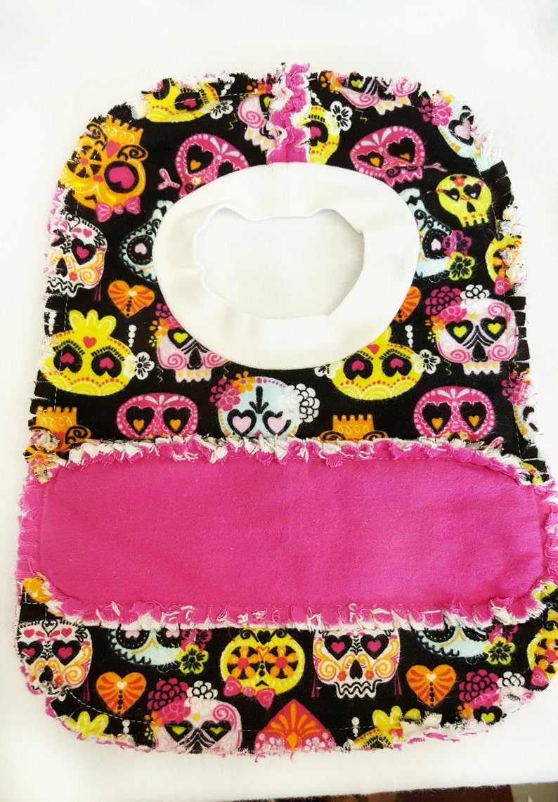 reversible bib matching baby set skeletons Skull Baby Gift Set pink bib set burp cloth bib baby shower gift skull girl gift