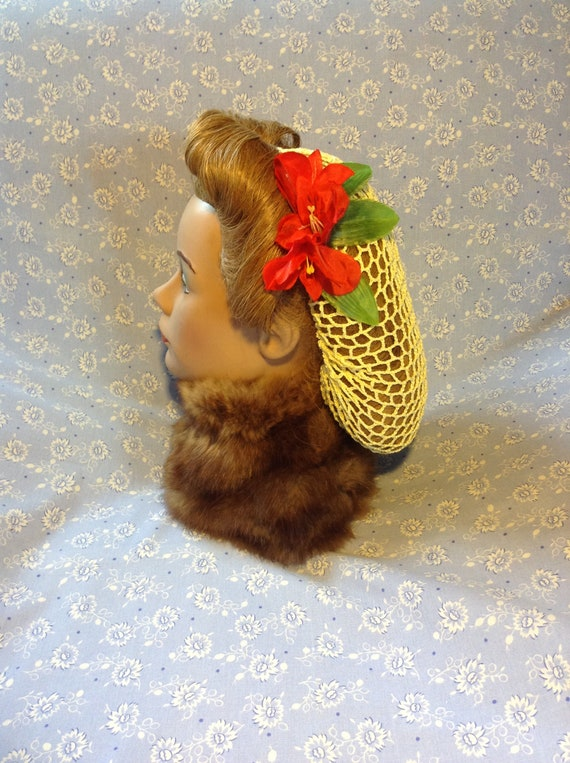 Thicker crochet snoodhairnet with ribbon in red,white /& blue