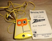 Vintage 1972 Rare ZENITH Owl Radio - Miniature Necklace
